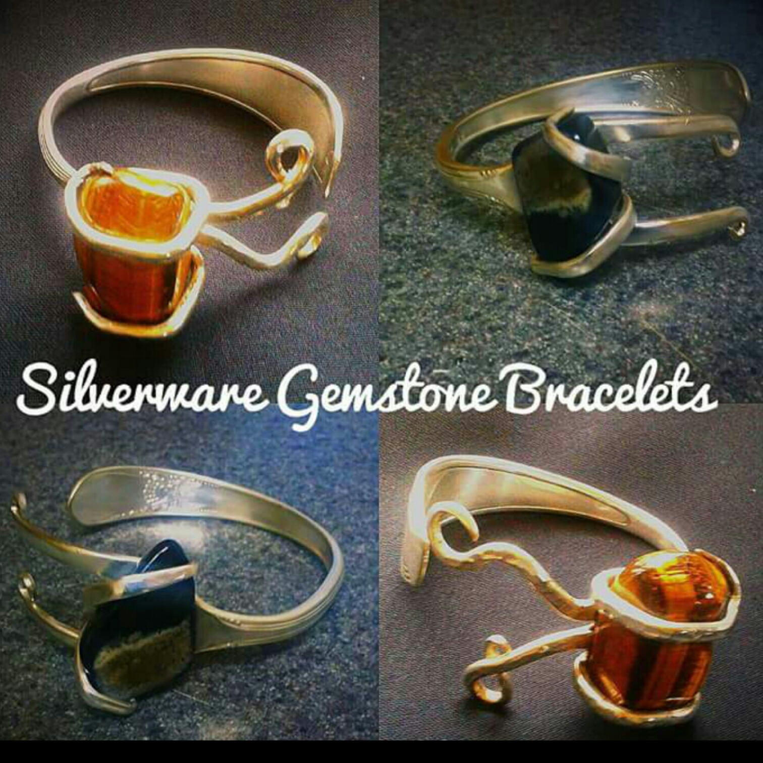 Antique-Silverware-Gemstone-Bracelets